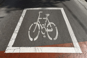 Bike Sign on Asphalt - Barcelona Spain