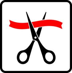 black scissors cutting red ribbon