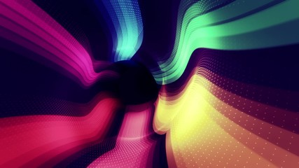 Striped multicolored flowing digital tunnel