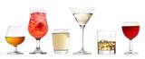 three glasses of various drinks