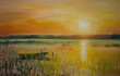 Sunset lake.Acrylic