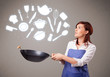 Young woman with kitchen accessories icons