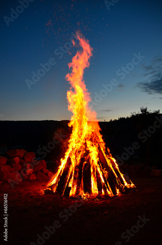 canvas print picture Feuer Lagerfeuer Nacht