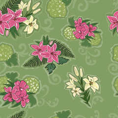 seamless pattern with decorative lilies