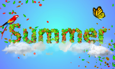 Summer  leaves particles 3D