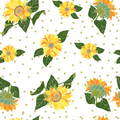 seamless pattern with sunflowers