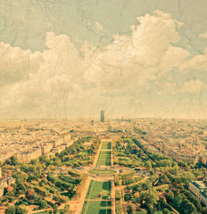 Aerial panoramic view of Paris and Seine river as seen from Eiff