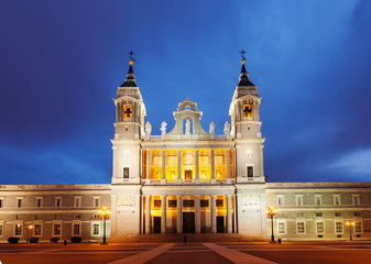 Almudena cathedral in night. Madrid
