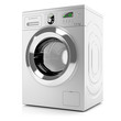 Modern silver washing machine isolated on white background - 66519013