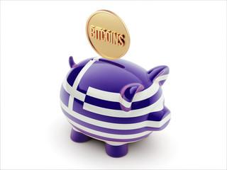 Greece Bitcoin Concept Piggy Concept