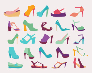High Heels Women Shoes Set - Illustration .