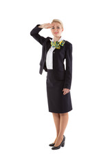 flight attendant greet the crew commander