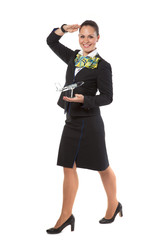 cheerful stewardess with model airplane
