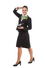 cheerful stewardess with model airplane
