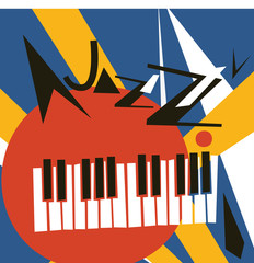 JAZZ concert, Music background flat vector illustration