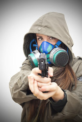 Beautiful  Woman With Gas Mask And Gun