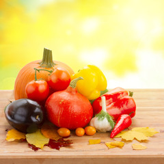 fall ripe of vegetables on table