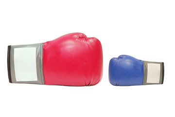 blue and red boxing gloves in white background