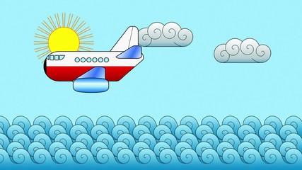 Passenger Aircraft above the Ocean