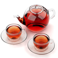 Isolated glass teacups and teapot