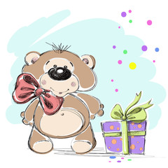 Nice little bear cub and a gift. Vector illustration.