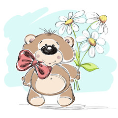 Nice little bear and a bouquet of flowers. Vector illustration.
