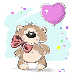 Nice little bear and a balloon. Vector illustration.