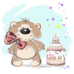 Nice little bear and cake. Vector illustration.