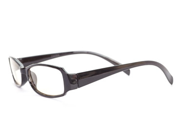 fashion black frame eye glass on white