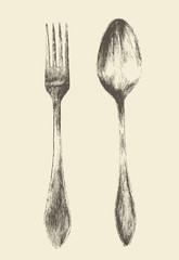 Cutlery - poon and fork vintage engraved retro style