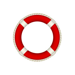 Red life buoy with rope around