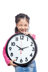 Asian little girl hold a clock and laughing