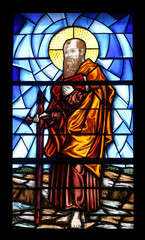 St Paul, stained glass in the Church in Portoferraio, Italy