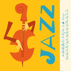 JAZZ concert, Music flat Illustration with font