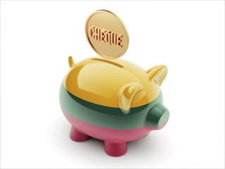 Lithuania Cheque Concept Piggy Concept