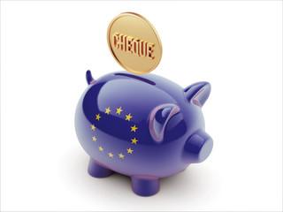 European Union Cheque Concept Piggy Concept