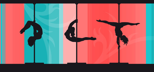 Silhouettes of pole dancers on abstract pink and blue background