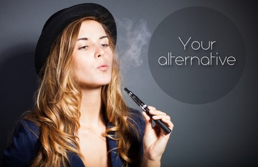 Woman smoking e-cigarette with smoke