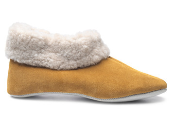 Handcrafted leather slipper with wool lining