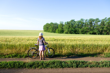 woman cycling countryside