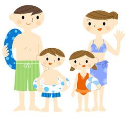 水着の家族