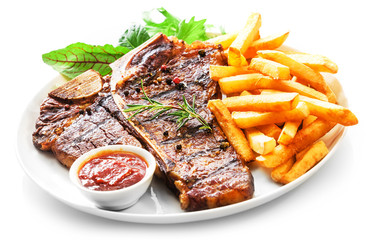 Tender grilled porterhouse or t-bone steak