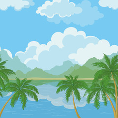 Seamless landscape, sea and palm trees