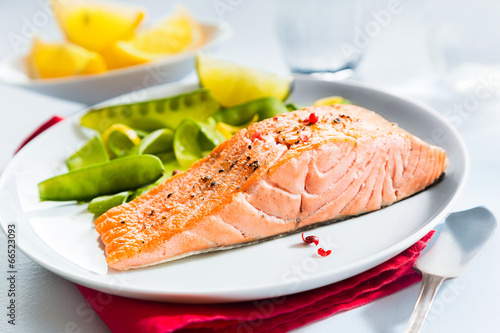 Gourmet seafood meal of grilled salmon - 66523093