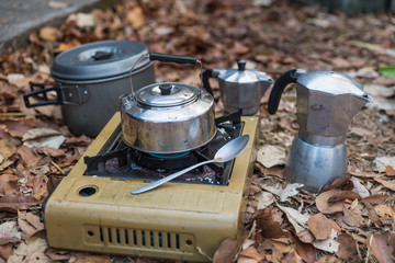 The set of outdoors pot for cooking