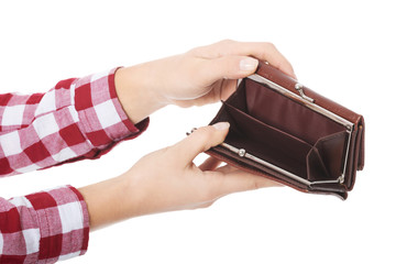 Woman with her empty wallet