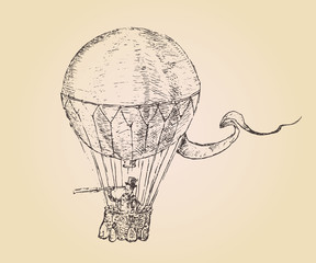engravings airship (balloon) style, hand drawn