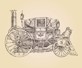 self-propelled carriage steam punk vintage engraved