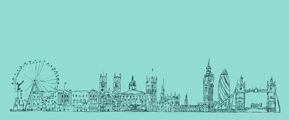 London, England vintage engraved illustration, hand drawn