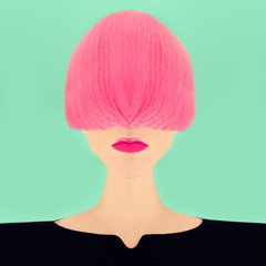 Fashion girl with pink hair.